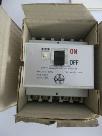 NEW OLD STOCK WYLEX WSES 30/4 30 AMP 30mA ELCB RCCB CIRCUIT BREAKER.